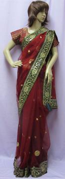 red net shimmer saree