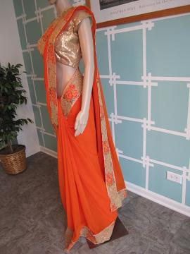 designer orange gold saree
