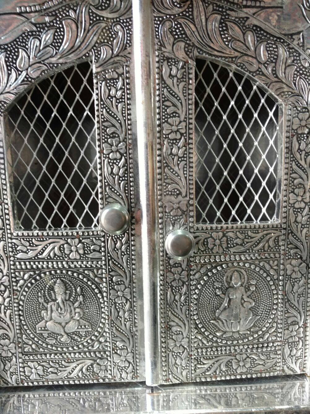 Small Carved Oxidized Mandir W Doors For Home Pooja Ghar