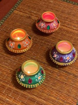 Colorful Fancy Matka Kalash Shaped Handmade Clay Diya - 20 pcs