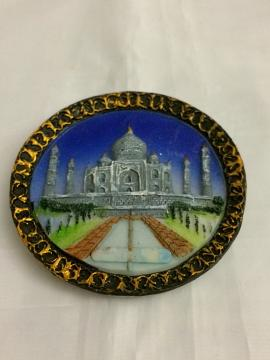 Taj Mahal Round Blue Fridge Magnet