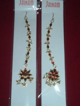 Gold Color Maang Tika Jewelry From India W/ Red Stones