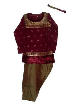 Kids Punjabi Suit In Mehndi & Maroon With Bead Work