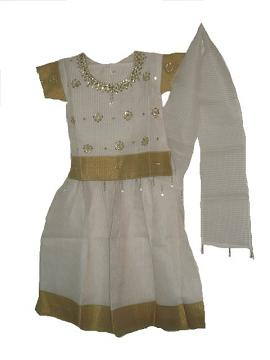 Traditional South Indian Lehenga Choli For Kids, Cream Pavada