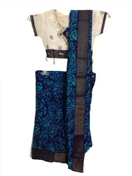 Readymade Blue Silk Printed Saree Costume