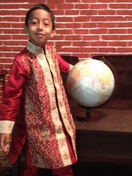 Kids & Teen Boys Maroon Sherwani Kurta Suit With Beadwork
