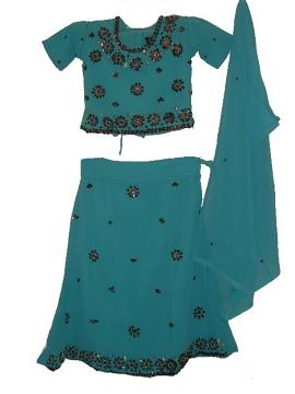 Gorgeous Blue Crepe Lehenga Choli For Teen & Little Girls