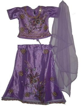 Bright Violet Net Lehenga Choli For Kids & Teenagers
