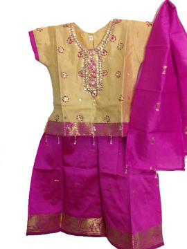 Kids Pattu Pavadai In Attractive Purple With Sequin Work