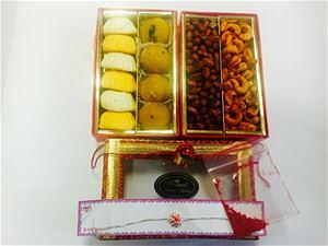 Rakhi w/ Indian Sweets & Snacks Combo Gift Pack # 1