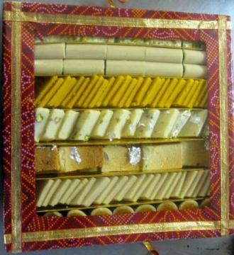 Indian Sweets Gift Pack in Bandhani Box, 5 Lbs, Diwali Gift Box
