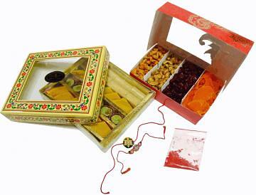 Indian Mithai & Snacks Gift Set /w Rakhi & Kumkum