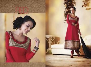 Long Red Anarkali Churidar Suit with Resham Work