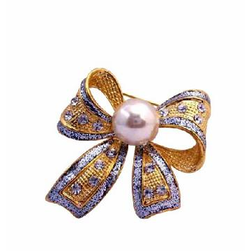 Golden Casting  Bow Brooch Pin in White Cultured Pearl & Crystals