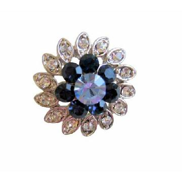 Montana & Lite Sapphire Crystal Simulated Diamond Brooch Pin