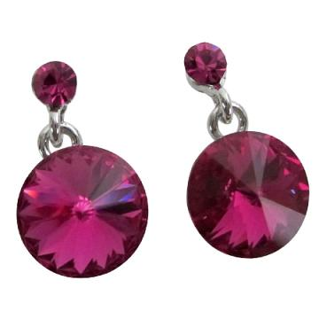 Stylish Shimmery Fuchsia Crystals Stud Earrings
