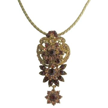 Vintage Inspired Topaz Antique Gold Pendant Necklace Gift For Mot