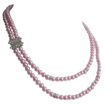 Handmade Pearl Necklace Double Strand Necklace Pink Pearls