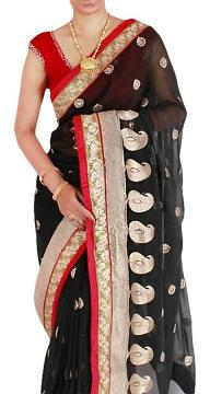 Black Chiffon Saree with Antique Gold Embroidery Work