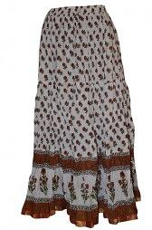 Gypsy Bohemian Long Cotton Cream Printed Maxi Skirt