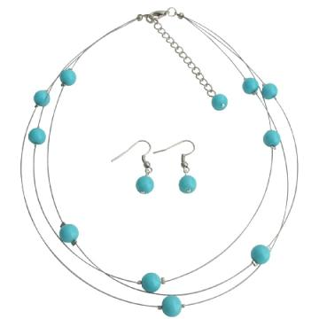 Illusion Floating Turquoise Blue Pearls Tripl Stranded Necklace