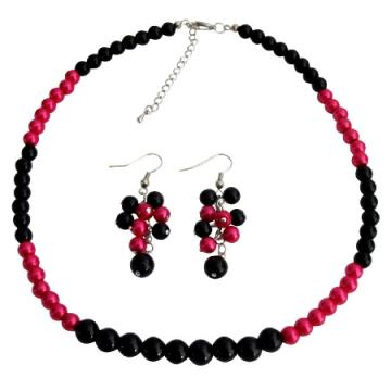 Magenta Black Pearl Necklace With Grape Earrings