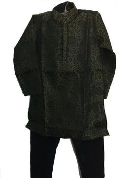 Self Design Stone Work Black & Grey Kids Kurta Pajama