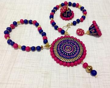 Colorful Pink, Blue & Gold Terracotta Necklace & Jhumkas