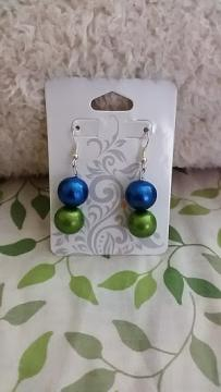 Terracotta Peacock blue and green earrings