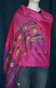 Purple Fuchsia Woolen Shawl with Embroidery