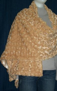 Beige Color Velvet Plush Stole / Shawl