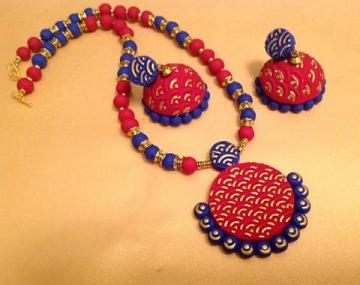 Terracotta Jewelry Set in Bright Red and Blue