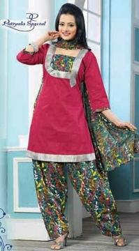 Punjabi Patiala Suit in Cotton Pink & Silver Color