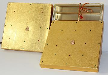 Golden Ganesh Decorative Fancy Empty Indian Sweets Gift Boxes