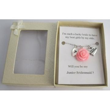 Junior Bridesmaid Gift Personalized Necklace Lite Pink Rose Pendant