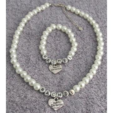 Personalized Christmas Gift, Pearl Necklace & Bracelet Set