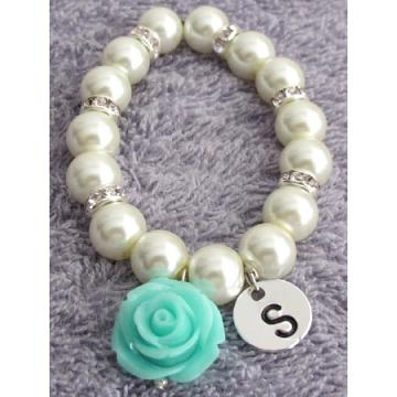 Personalized Flower Girl Bracelet with Mint Green Flower Dangling