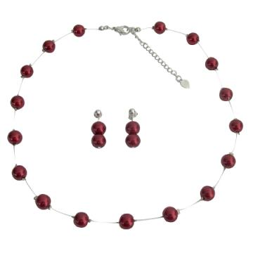 Apple Red Pearls Floating Illusion Necklace & Post Earrings Set