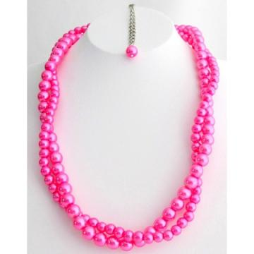 Twisted Pearl Necklace For Bridesmaid in Hot Pink Color