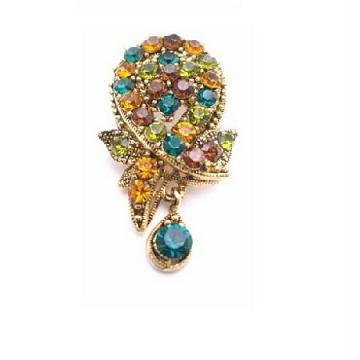 Gorgeous Multicolored Crystals Brooch Pendant