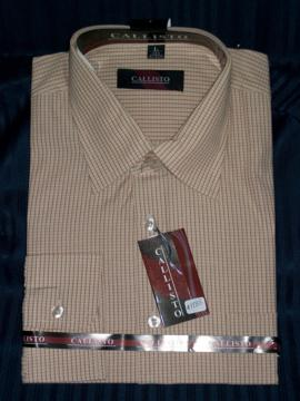 Formal Check Pattern Beige Dress Shirt For Men - 17""