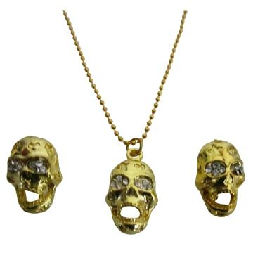 Inexpensive Classic Gold Skull Pendant Earrings Halloween Chic Gift