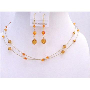 Tricolor Gold Crystals Jewelry Fire Opal Topaz Sun Crystals Bridesmaid