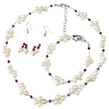 Fashion Wedding Jewelry with Siam Red Crystals & Freshwater Pearls