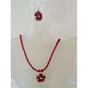 Romantic Siam Red Swarovski Crystal Necklace Set Flower Pendant Jewelry