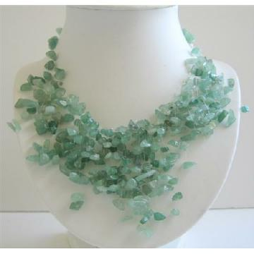 Green Jade Stone Chips Nugget Beads Dangling Necklace