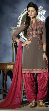 Stylish Party Wear Light Brown & Pink Patiala Kameez(M/L)