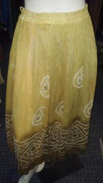 Yellow Long Traditional Design Bandhani Skirt