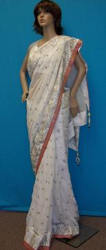 White Chiffon Wedding Party Wear Saree /w Stone Bead Work