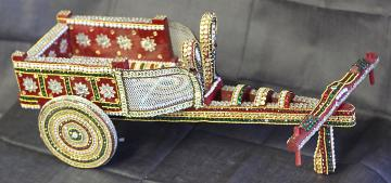 "Handmade Traditional Indian Bullock Cart / Doli (14"" Long)"